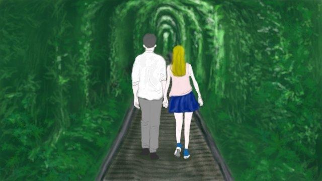 đường hầm tình yêu lãng mạn xanh Hình minh họa Hình minh họa