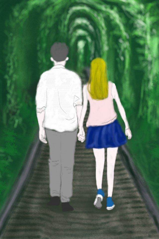 đường hầm tình yêu lãng mạn xanh Hình minh họa