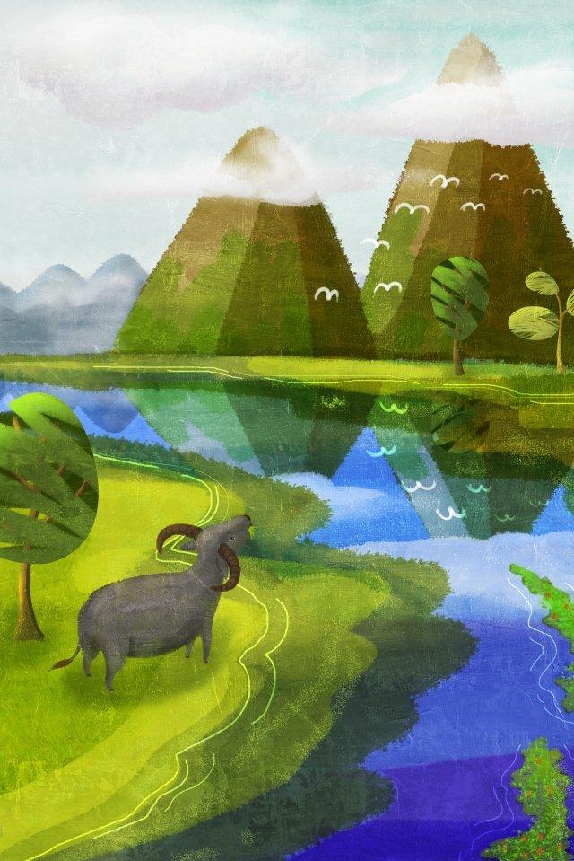 グリーンスプリング栽培ブルー イラストレーション画像