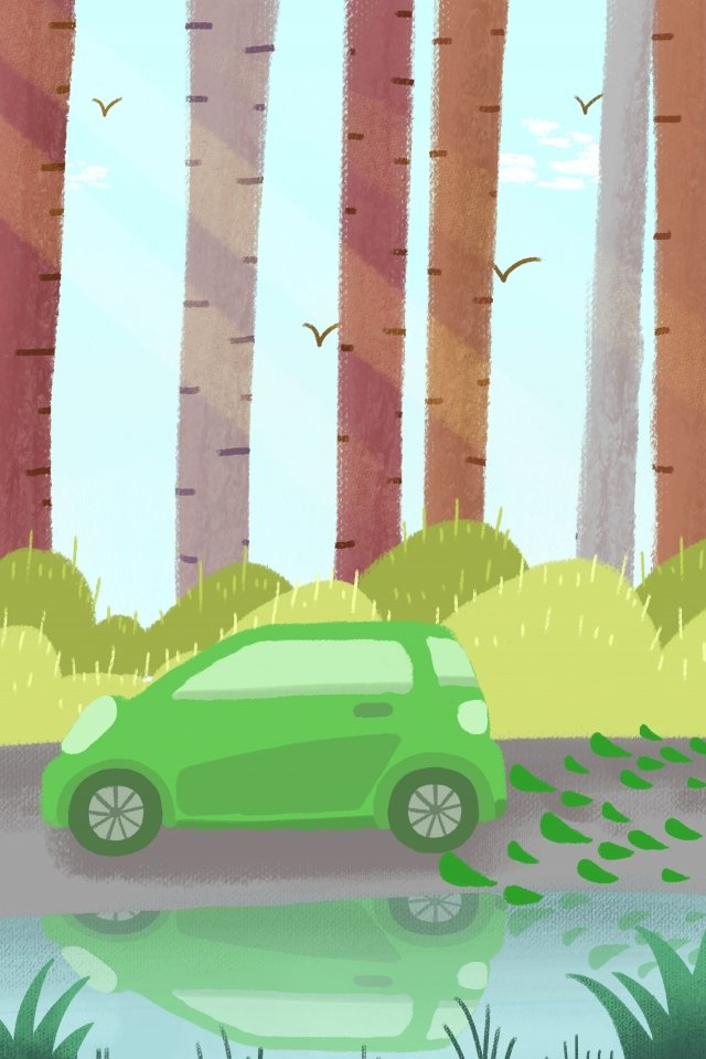 green travel environmental protection hand drawn illustration, Shared Car, Blue Sky, Trees illustration image