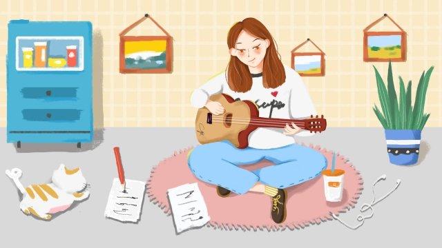 ギターの女の子キャラクター鉢植えの植物 イラストレーション画像 イラスト画像