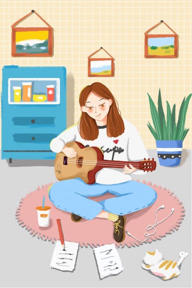 ギターの女の子キャラクター鉢植えの植物 イラストレーション画像