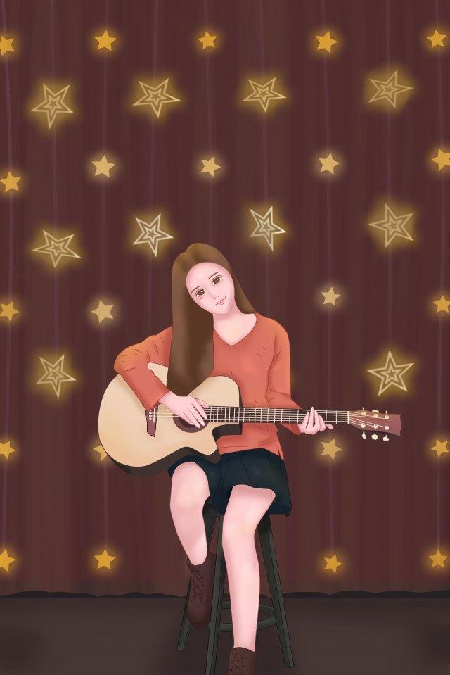guitar musical instrument music girl llustration image
