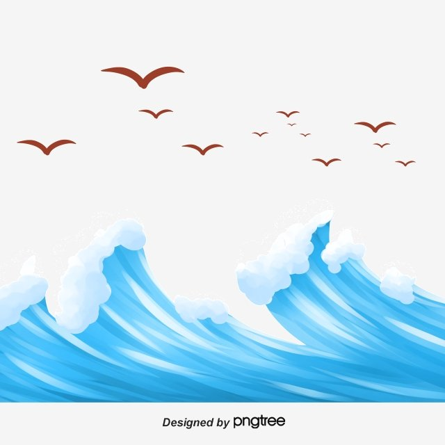 海雁海洋天空波 插畫素材 插畫圖片