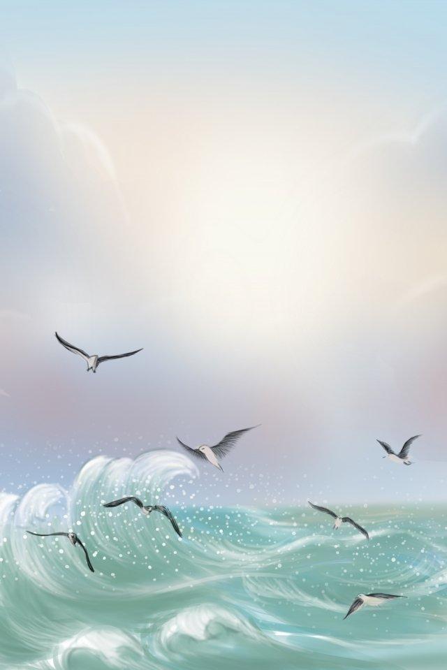 海雁海洋天空波 插畫素材