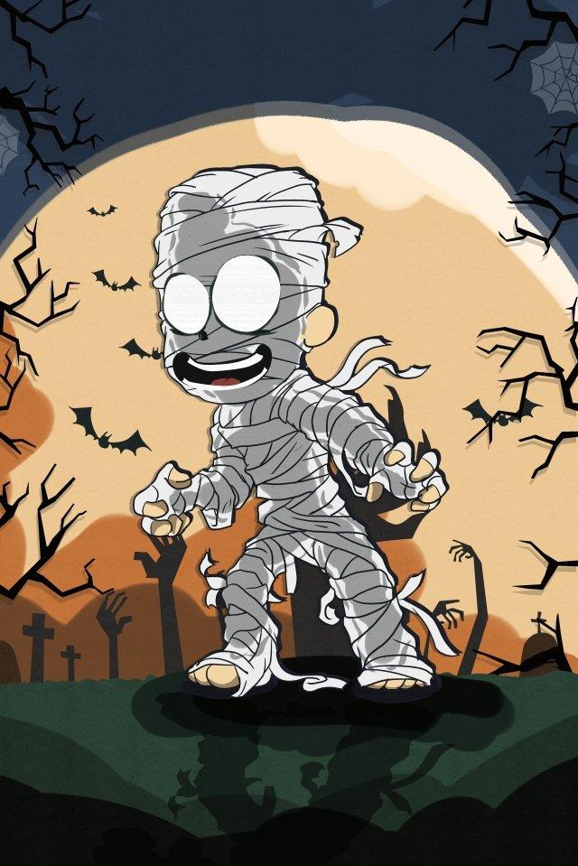 할로윈 축제 축하 좀비 박쥐 삽화 소재