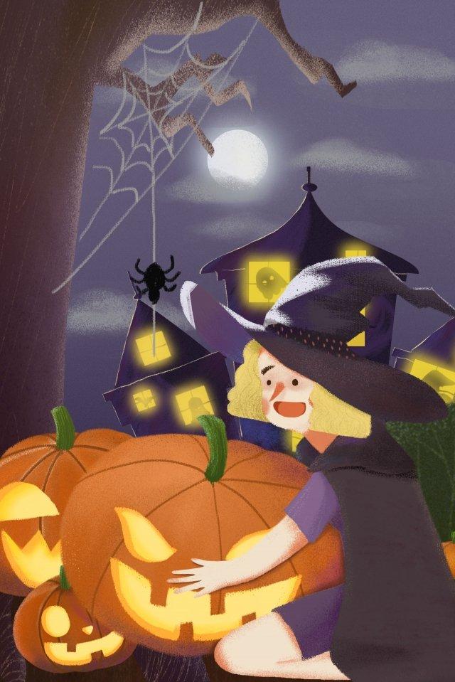 할로윈 유령 악마 마녀 삽화 이미지