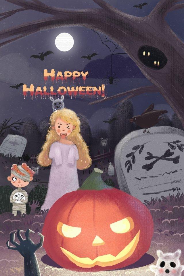 할로윈 유령 축제 소녀 캐릭터 삽화 소재