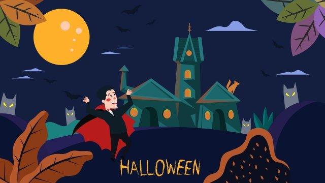 halloween halloween bên lâu đài ma cà rồng nam tước Hình minh họa