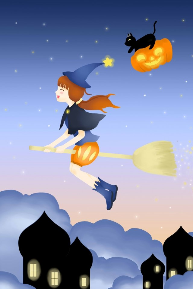 halloween halloween witch pumpkin lantern, Silhouette, Hand Painted, Illustration illustration image