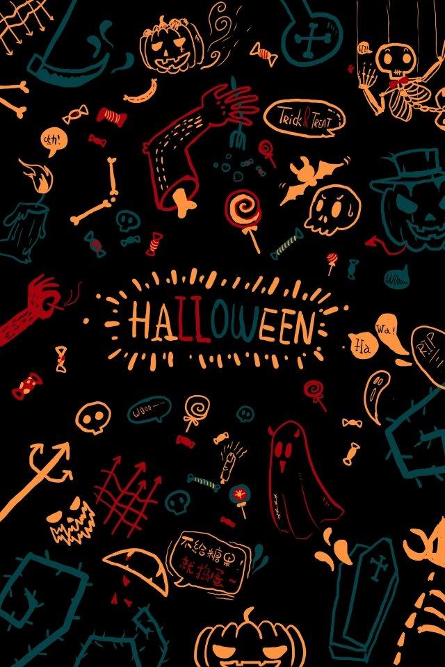 tangan halloween dicat grafiti hantu imej keterlaluan imej ilustrasi