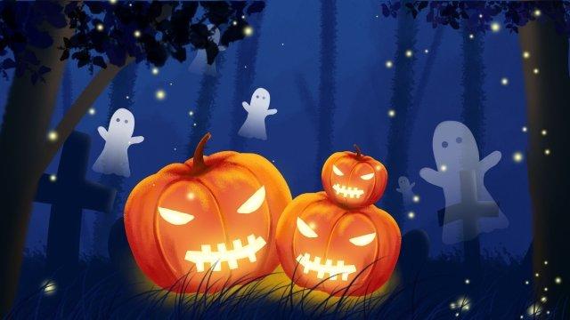 Halloween minh họa bí ngô đèn nghĩa trang ma Halloween Minh họa Ánh sángBí  Tay  Bí PNG Và PSD illustration image