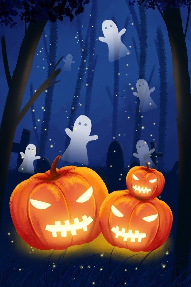 ilustrasi halloween labu tanglung hantu imej keterlaluan