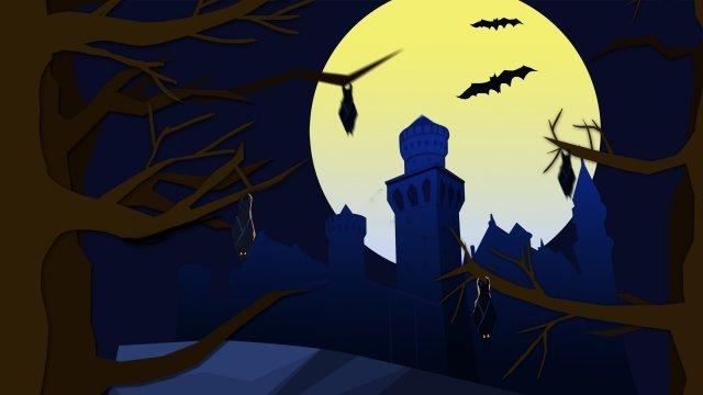 할로윈 밤 달 성 삽화 소재