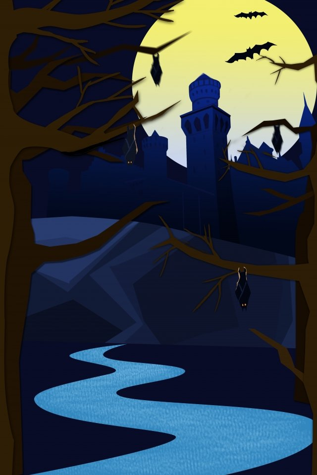 할로윈 밤 달 성 그림 이미지 일러스트레이션 이미지