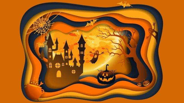 halloween cắt giấy gió vẽ lâu đài halloween minh họa Hình minh họa
