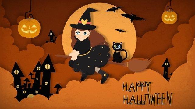 halloween phù thủy cắt giấy ma thuật Hình minh họa