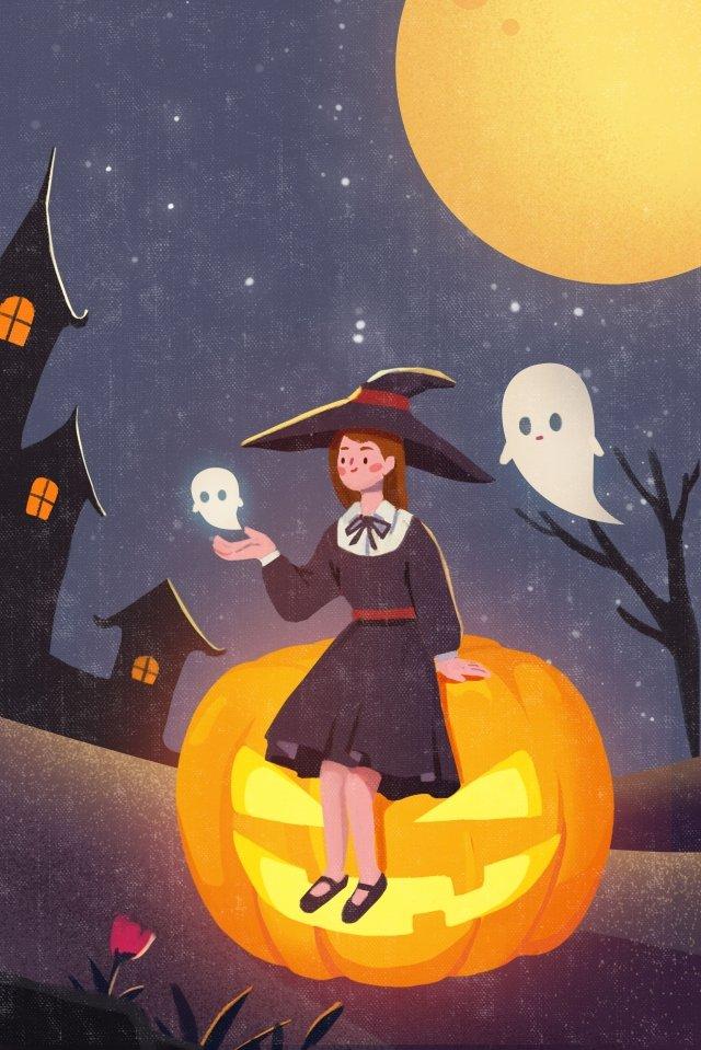 할로윈 호박 만화 마녀 삽화 이미지