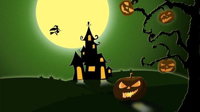 halloween pumpkin castle witch, Night, Moon, Strange Tree illustration image