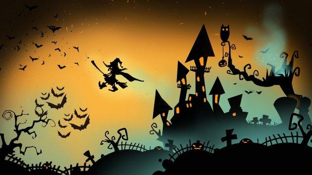 ハロウィンかぼちゃ城魔女 イラスト素材