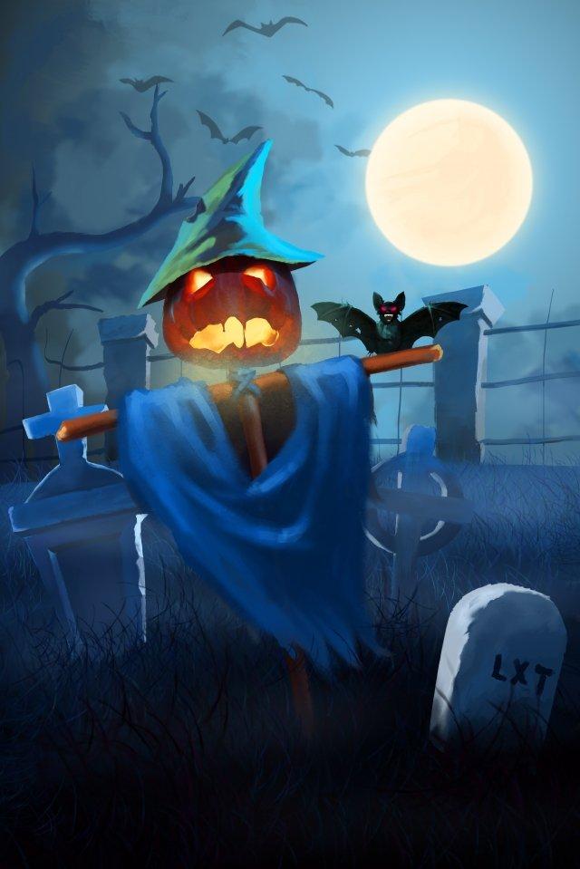 halloween bí ngô đầu bia mộ Hình minh họa Hình minh họa