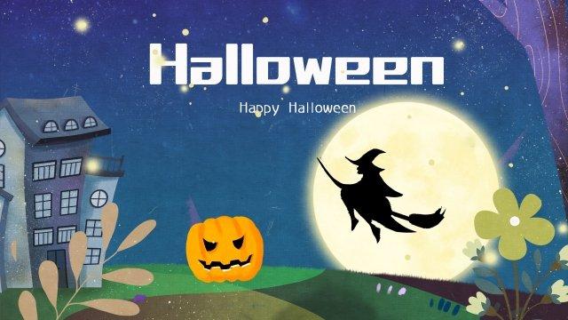 halloween pumpkin head castle witch, Illustration, Halloween, Pumpkin Head illustration image