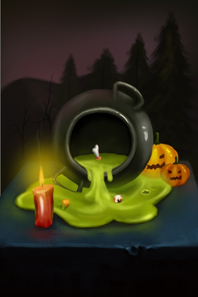 halloween pumpkin head terror candle llustration image
