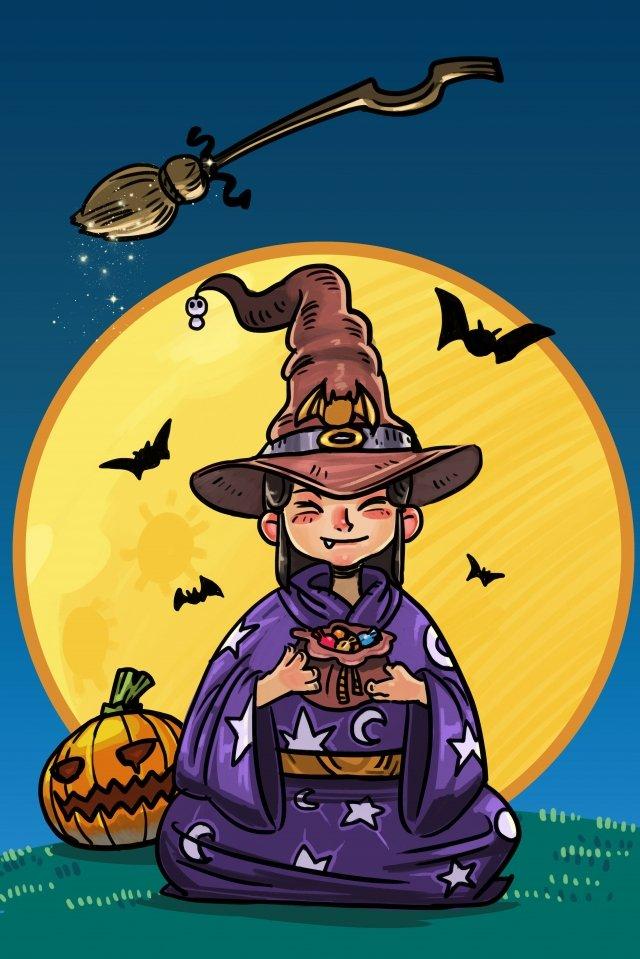 할로윈 호박 마녀 사탕 삽화 이미지