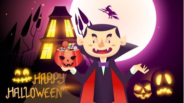 halloween ma cà rồng tông màu tím halloween minh họa Hình minh họa