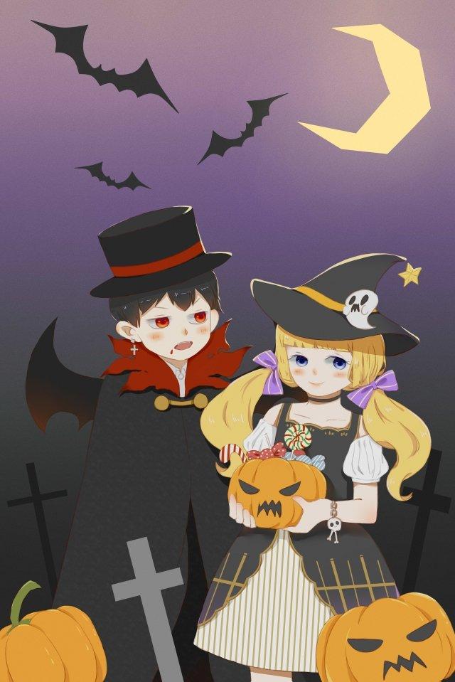 할로윈 뱀파이어 마녀 삽화 이미지