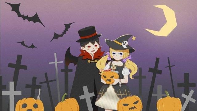 할로윈 뱀파이어 마녀 삽화 소재