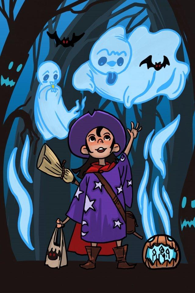 할로윈 마녀 귀신 호박 삽화 이미지