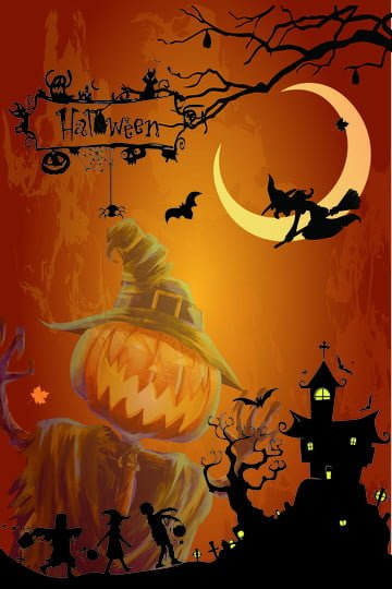 halloween penyihir hutan labu imej ilustrasi