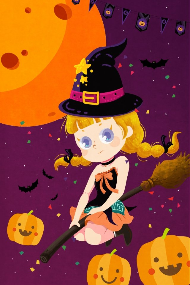 halloween witch pumpkin moon, Moon Night, Broom, Hat illustration image