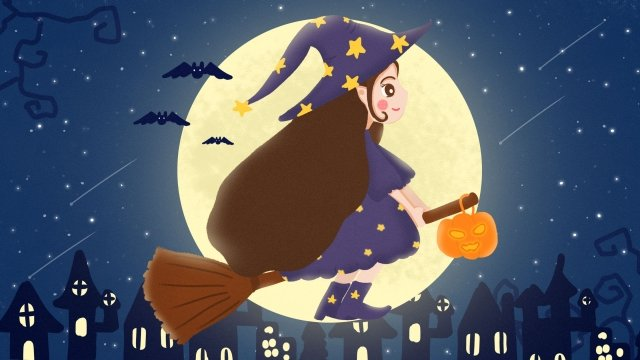 halloween witch wizard pumpkin lantern, House Silhouette, Moon, Bat illustration image