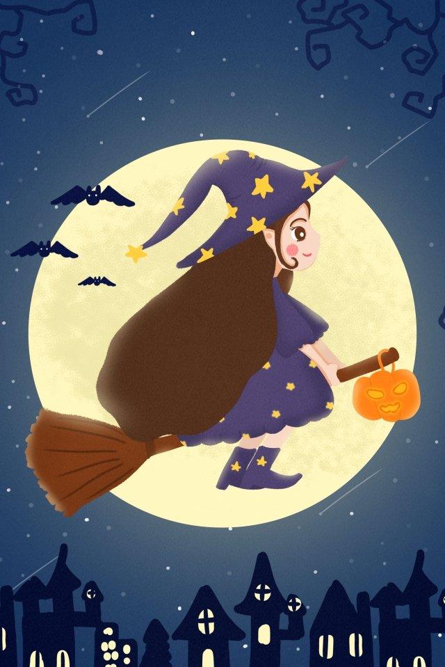할로윈 마녀 마법사 호박 랜턴 삽화 소재 삽화 이미지