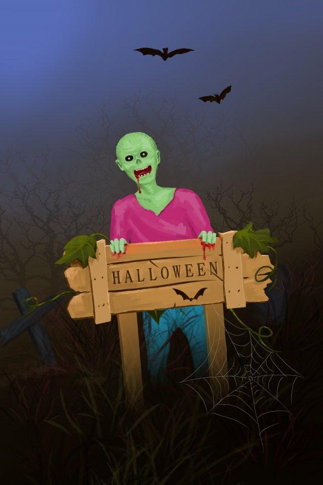 halloween zombie bat bia mộ Hình minh họa Hình minh họa