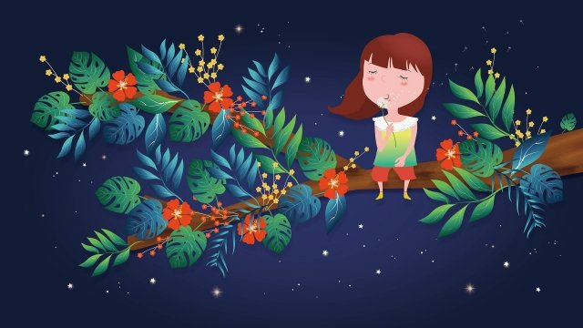 hand drawn cartoon character beautiful little girl blowing dandelion girl sitting on the tree llustration image illustration image