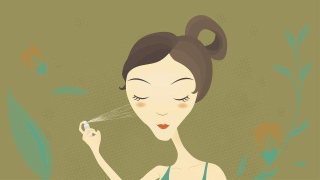 hand drawn fashion girl skin care girl beauty cartoon character llustration image