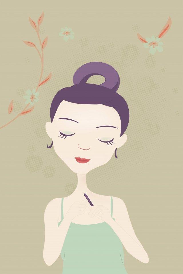 손으로 그린 패션 소녀 피부 케어 소녀 아름다움 만화 캐릭터 삽화 소재