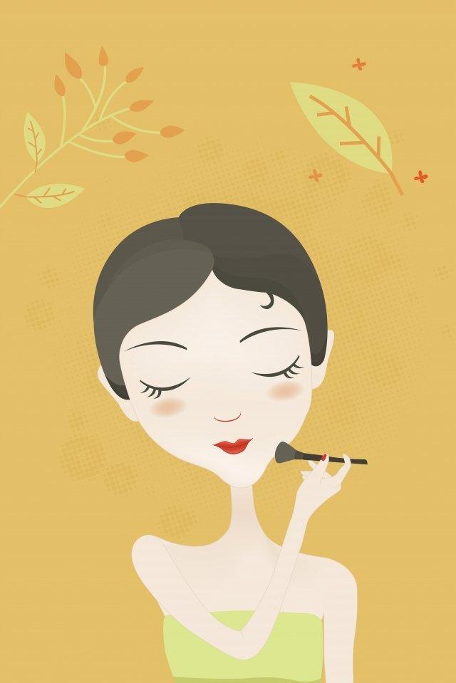 hand drawn fashion girl skin care girl beauty cartoon character, Flower, Beauty, Female illustration image