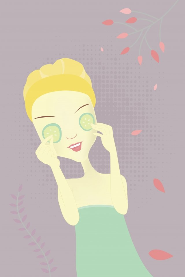 hand drawn fashion girl skin care girl beauty cartoon character, Petal, Beauty, Female illustration image