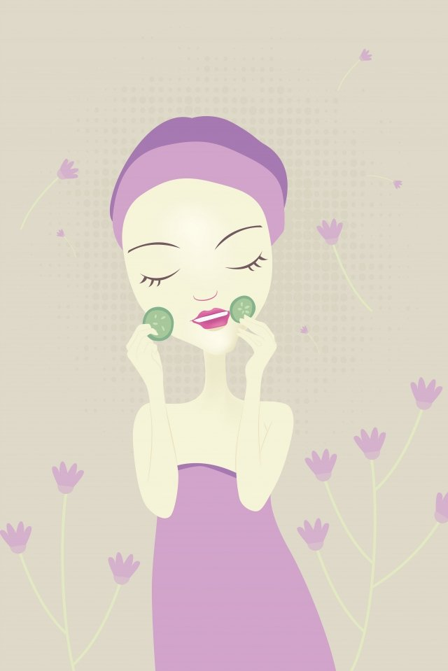 hand drawn fashion girl skin care girl beauty cartoon character, Hand Drawn Fashion Girl, Skin Care, Cucumber Slices illustration image
