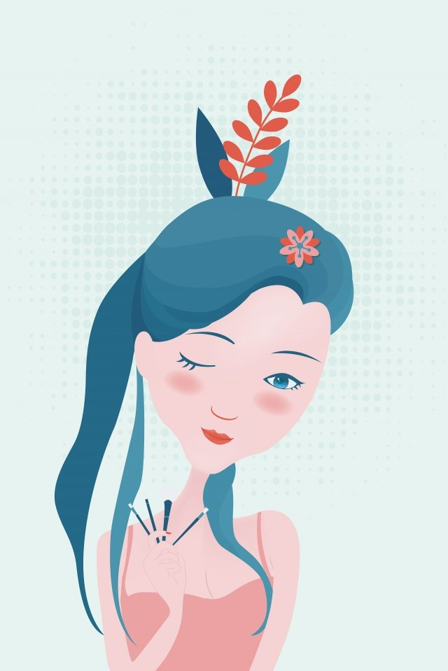 hand drawn fashion girl skin care girl beauty cartoon character llustration image