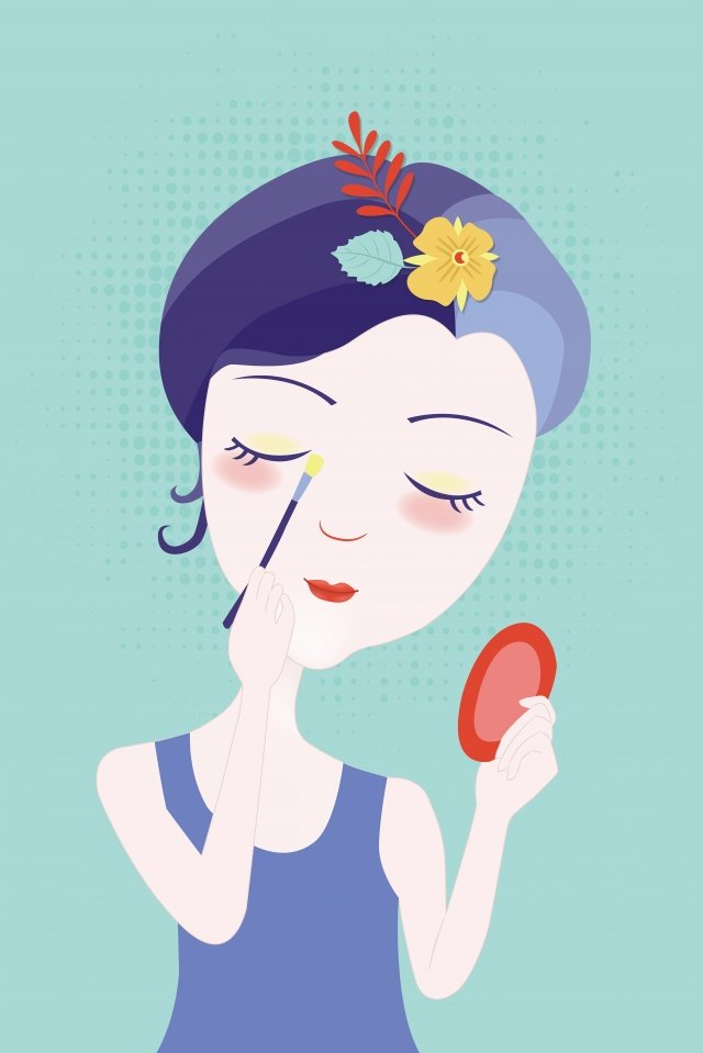 hand drawn fashion girl skin care girl beauty cartoon character, Flower, Beauty, Female illustration image
