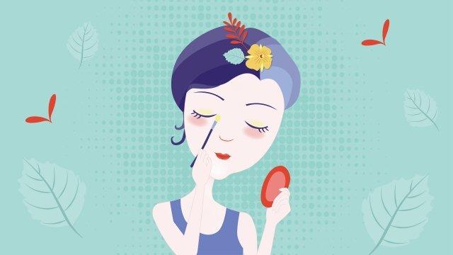 hand drawn fashion girl skin care girl beauty cartoon character llustration image illustration image