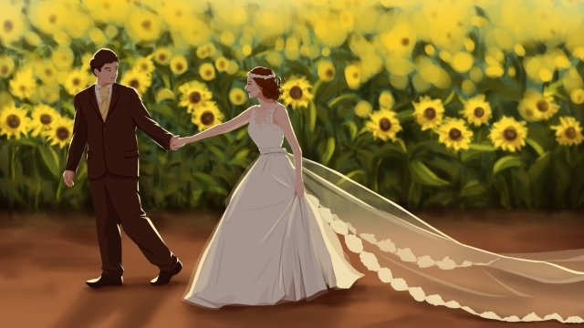 hand drawn illustration bride and groom wedding photo wedding wedding llustration image