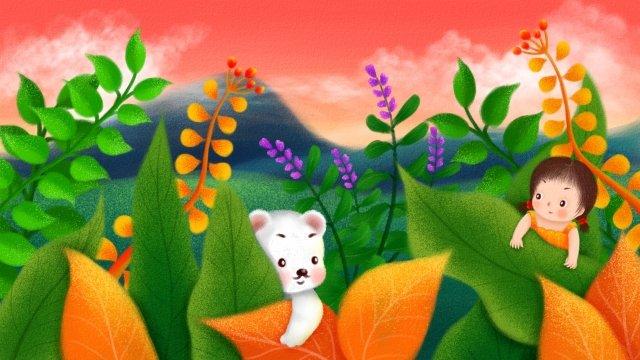 少女ニホンジカ静かな時間癒し森林  草  草原 PNGおよびPSD illustration image