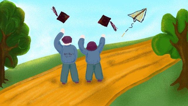 hand drawn illustration graduation season landscape cartoon hand drawn, Plant Hand Drawing, Graduation Illustration, Cartoon Character illustration image