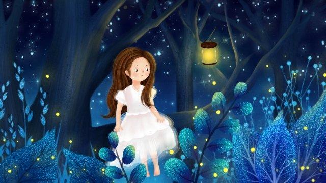 hand drawn illustration midsummer night fantasy forest night, Starry Sky, Girl, Trees illustration image